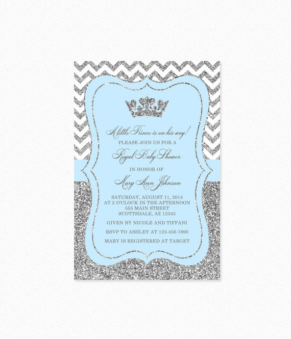 Prince Baby Shower Invitation Sky Blue And Silver Baby Etsy