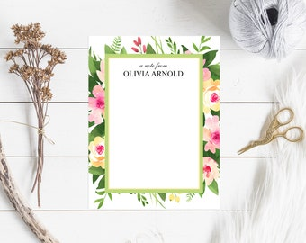 Personalized Note Cards & Envelopes, Custom Stationery with Name, Flat Cards, Watercolor Tropical Floral