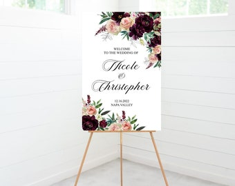 Floral Welcome Wedding Ceremony Sign, Blush Wine Flowers, Wedding Decor, Winery, Vineyard, Foam Board Sign - BLWNFLORAL