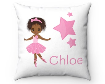 Ballerina Personalized Name Room Pillow, African American Girl Home Decor, 14x14 Pink Teal Decorative Pillow, #Kyla