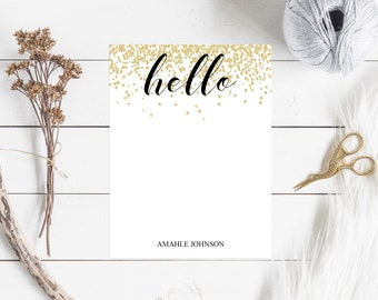 Personalized Note Cards & Envelopes, Custom Stationery with Name, Flat Cards, Gold Confetti, Hello