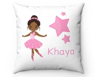 Ballerina Personalized Name Room Pillow, African American Girl Home Decor, 14x14 Pink Teal Decorative Pillow, #Zoe