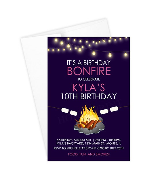 Bonfire Birthday Party Invitations Girl Bonfire Invitations Etsy