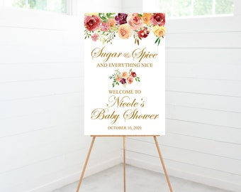 Sugar and Spice and Everything Nice Baby Shower Welcome Sign, Fall Baby Shower Decoration, Foam Board Sign
