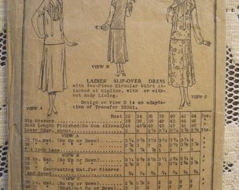 Vintage 1920s Original Womens Drop Waist Dress Pattern Butterick 6030 Deltor Bust 34 AS IS