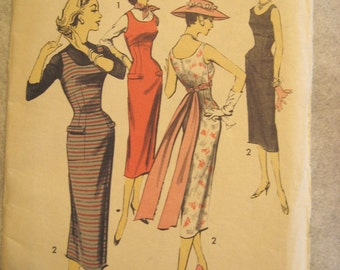 Vintage late 40s early 50s Scoop Neck Sleeveless Dress Pattern Jumper Slim Skirt Advance 8134 Size 16