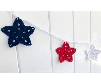 Red, White and Blue Patriotic Star Garland