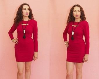 90s Bodycon Dress // Bandage Dress // Red Mini Dress // Cut Out Dress // Party Dress // Club Wear