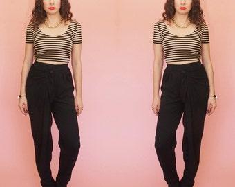 80s Harem Pants // 90s Harem Pants // High Waist Pants // Draped Pants // Black Pants // Pleated Pants //