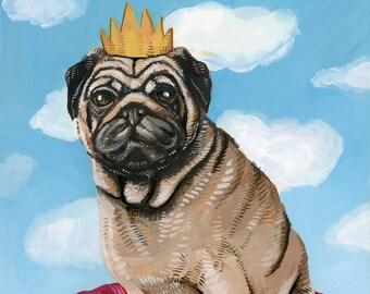 "King Pug - Original 8"" x 10"" Acrylic Painting // Dog, dog portrait, cute, animal, animal art"