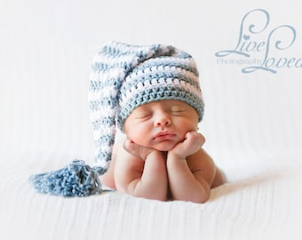 61af432930d Download PDF crochet pattern 013 - Elf long tail hat with tassel or pompom  - Multiple sizes from newborn through age 4