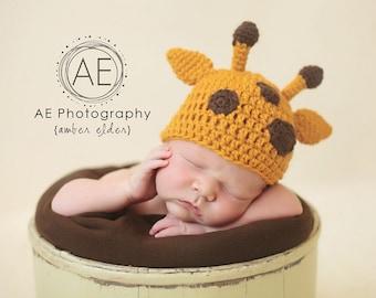 Download PDF crochet pattern 027 - Giraffe beanie - Multiple sizes from newborn through 12 months