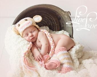 Download PDF crochet pattern - Sock monkey hat and leg warmers