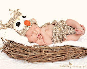 Download PDF crochet pattern - Owl hat and diaper cover - Photography Prop