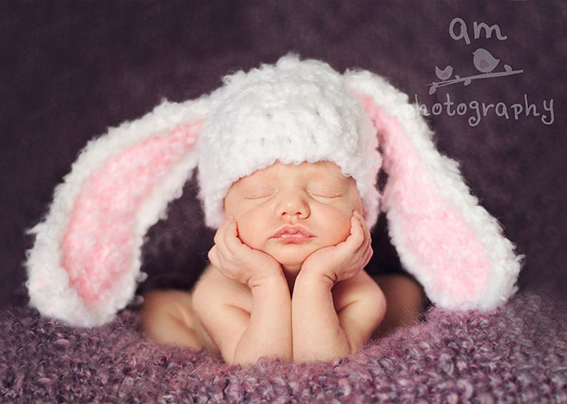 282171f39 Download PDF crochet pattern 036 - Floppy ears Bunny hat - Multiple sizes  from newborn through 12 months