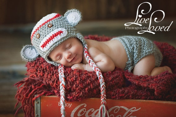 Download Pdf Crochet Pattern Sock Monkey Hat And Diaper