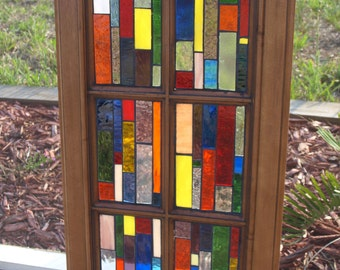 "Stained Glass Mosaic Window Wood ""Vertiglo B"" Repurpose Vintage  Cabinet Door"