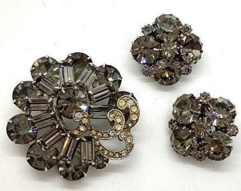 """Details about  /Vtg WEISS Sparkling Clear Rhinestones Pin Brooch Earrings Necklace 15"""" Set"""