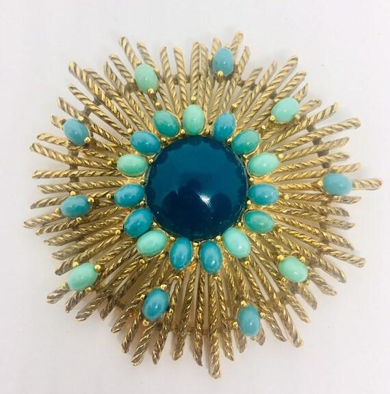 blue vintage brooch. mid century brooch 1960s gold tone brooch turquoise vintage brooch modernist vintage brooch 60s Modernist brooch