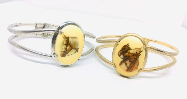 Lot 2 Horse Lovers Clamper Bracelets Equestrian Theme Vintage Jewelry