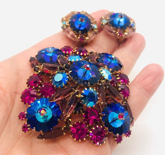 Vintage Delizza /& Elster Juliana classic jewelry set brooch earrings amber and AB crystals