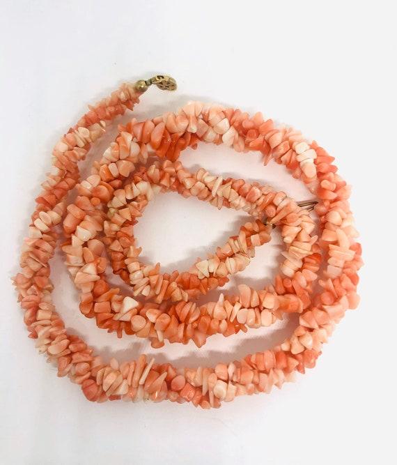"Angel Skin Coral Torsade Necklace 3 Strand 22"" Chu"