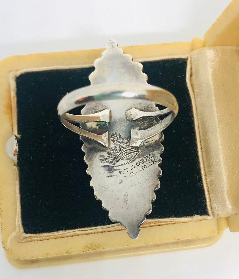 Large Sterling Silver Mexico Onyx Ring Ornate Crown Mark Sz 6.5 Vintage Jewelry