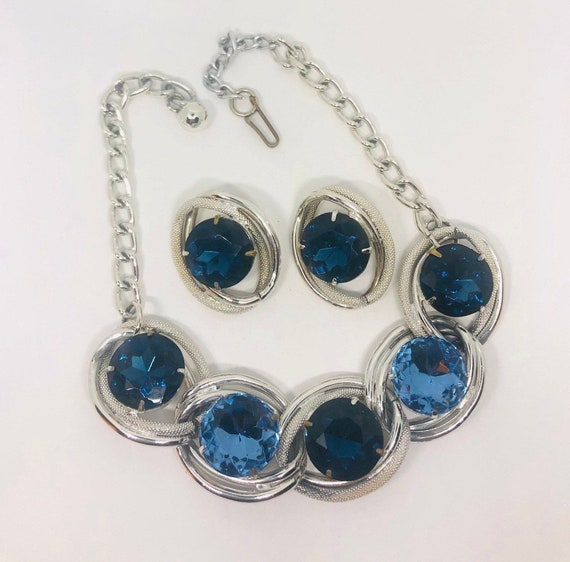 Large Chunky Blue Rhinestone Necklace and Earrings