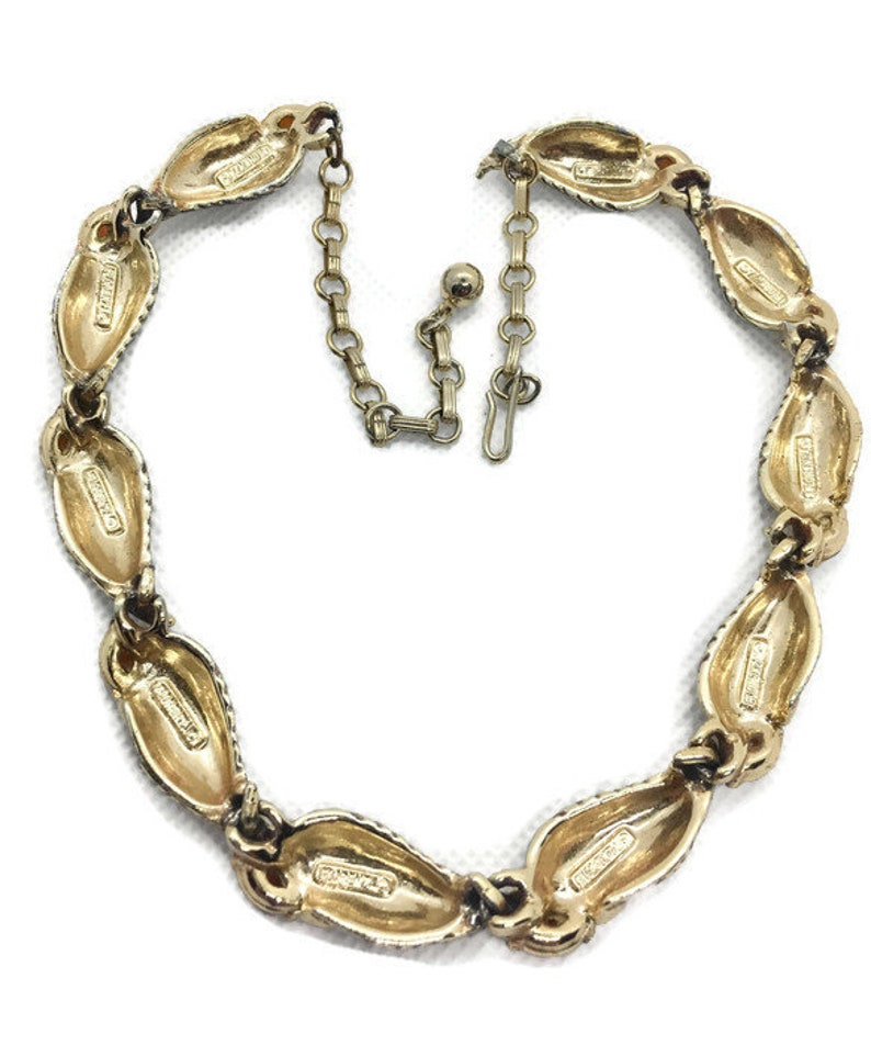 Signed Florenza Amber Stone Enamel Articulated Necklace Vintage Jewelry