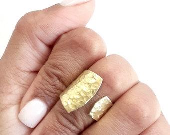 Short Brass Open Textured Ring