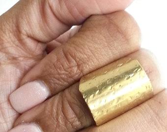 Short Brass Textured Ring