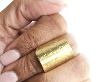 Shield Ring, Statement Ring, Knuckle Ring, Cuff Ring, Long Hammered Brass Ring, Armor Ring, Adjustable Ring