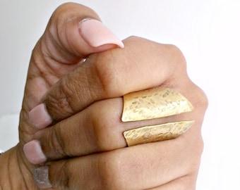 Short Open Cuff Adjustable Brass Ring