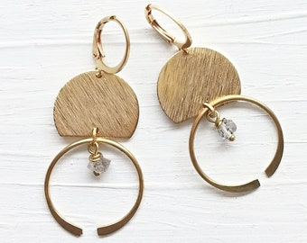 Yellow Brass Hoop and Natural Raw Quartz Stone Earrings