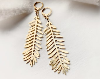 Long Textured Yellow Brass Modern Textured Leaf Dangle and Drop Earrings