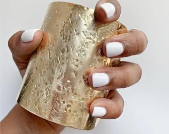 Extra Wide Tall Brass Cuff Bracelet, Modern Cuff, Wide Cuff Bracelet, Minimalist Jewelry, Armor Jewelry, Textured Bracelet, Statement Cuff