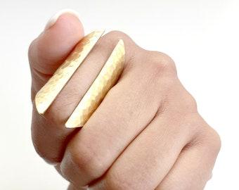 Tall Open Cuff Adjustable Brass Ring