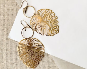 Long Textured Yellow Brass Modern Huge Leaf Dangle and Drop Earrings