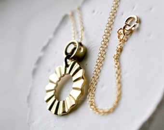 Brass Wheel and Ruffled Charm Necklace on Gold Filled Chain