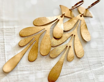 Long Textured Yellow Brass Leaf Dangle and Drop Statement Earrings
