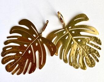 Long Textured Yellow Brass Modern Monstera Leaf Dangle and Drop Earrings
