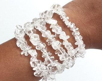 Natural Quartz Crystal Stretch Bracelets Set of 5