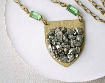Raw Pyrite Brass Shield with Light Green Vintage Glass Stones Necklace