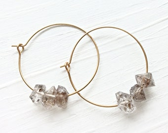 Quartz Crystal Brass Hoop Earrings