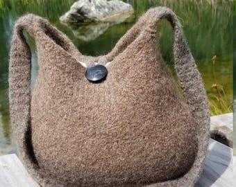 11-1047 Handknitted felted wool purse,tote,handbag fs
