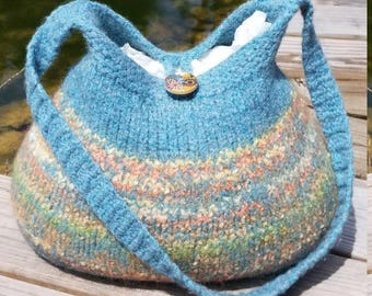 13-1187 Handknitted felted wool purse,tote,handbag fs