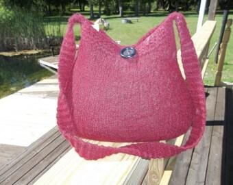 11-102  Handknitted felted wool purse,tote,handbag fs