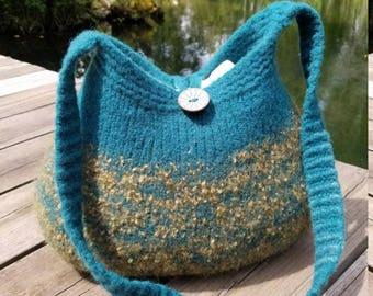 11-1192 Handknitted felted wool purse,tote,handbag fs