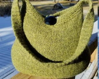 13-1190 Handknitted felted wool purse,tote,handbag fs