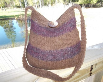 13-1189 Handknitted felted wool purse,tote,handbag fs